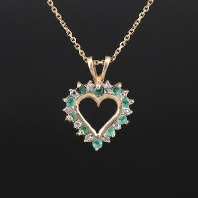10K Emerald and Diamond Heart Pendant on 14K Chain
