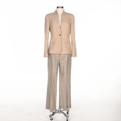 Max Mara Beige Cashmere Jacket and Woolen Pants