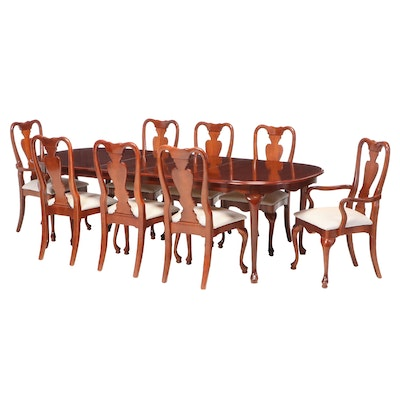 Queen Anne Style Cherry Dining Set with Leaf Inserts, Late 20th Century