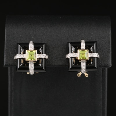 14K Peridot and Diamond Earrings