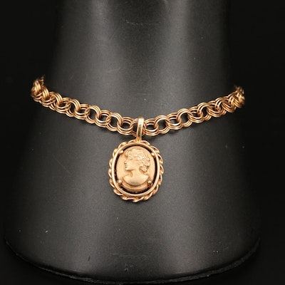 14K Double Cable Link Bracelet with Cameo Charm
