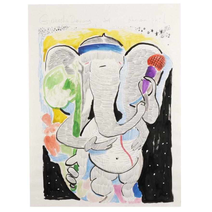 "Philip the Transplant Mixed Media Painting ""Ganesha Dancing,"" 2014"