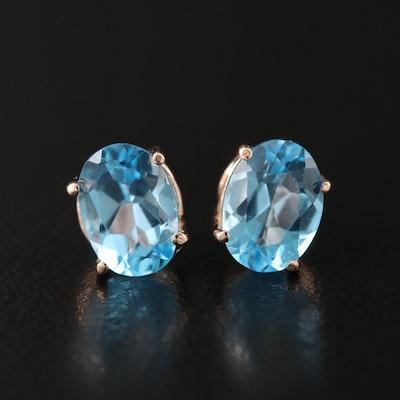 14K Rose Gold Swiss Blue Topaz Stud Earrings
