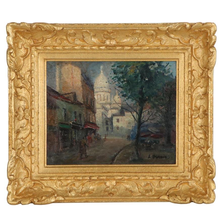 Lucien Ducuing Parisian Street Scene Oil Painting
