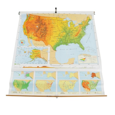 Nystrom Pull Down United States School Map with Metal Case, circa 1970s
