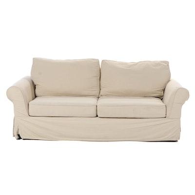 Pottery Barn Slip-Covered Roll-Arm Sofa