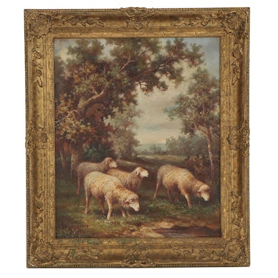 Pastoral Oil Painting of Grazing Sheep, Late 20th Century