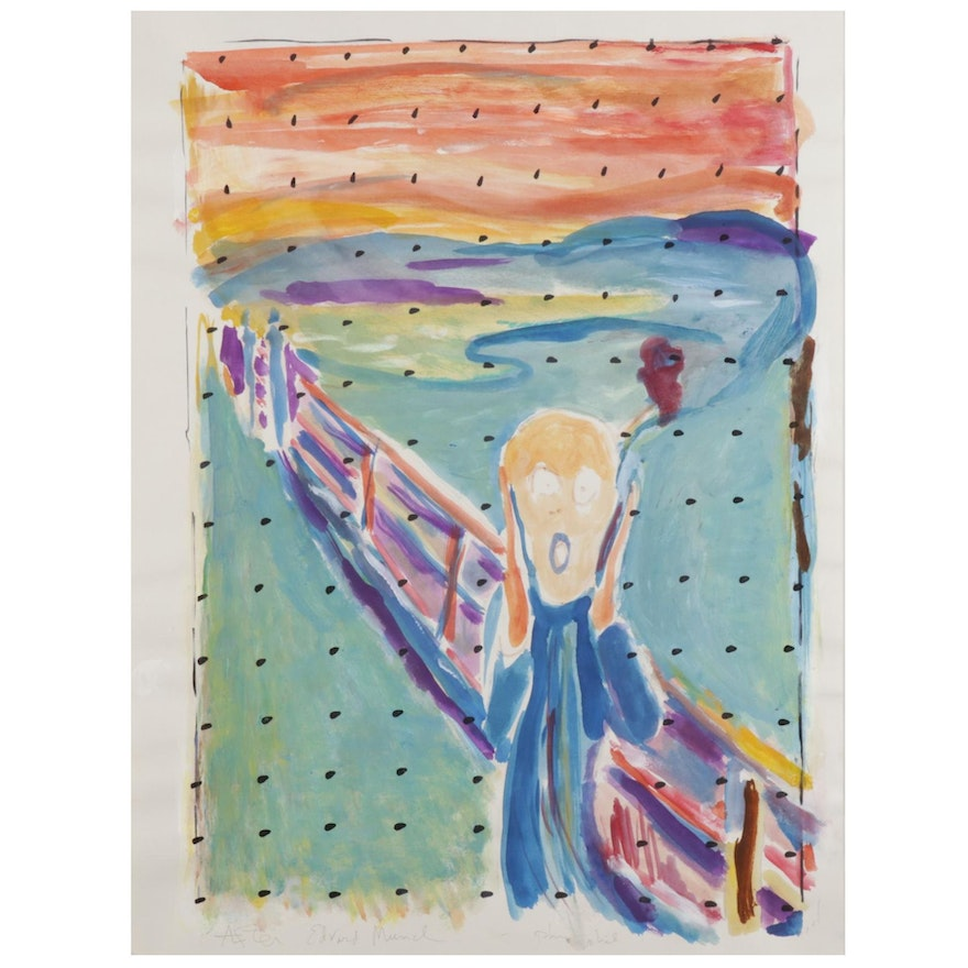 """Philip the Transplant Watercolor and Gouache Painting """"After Edvard Munch"""""""