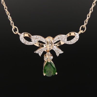 14K Tourmaline and Diamond Lavalier Bow Necklace