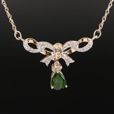 14K Tourmaline and Diamond Lavalier Bow Necklace