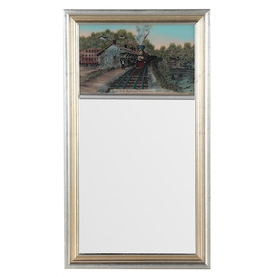 Trumeau Mirror with Painting of U.S. Railroad Terminus