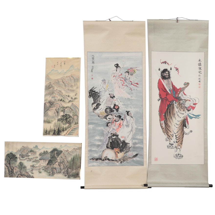 Chinese Watercolor Paintings featuring Zhou Caishen and The Eight Immortals