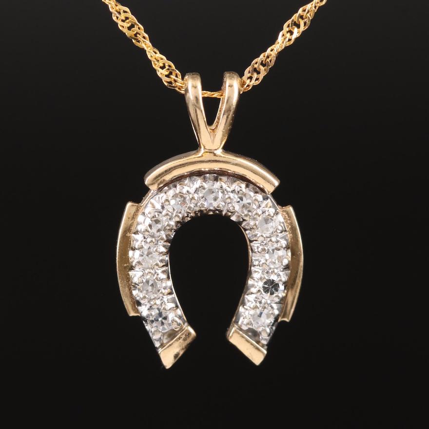 14K Diamond Horseshoe Pendant on Italian Singapore Style Chain