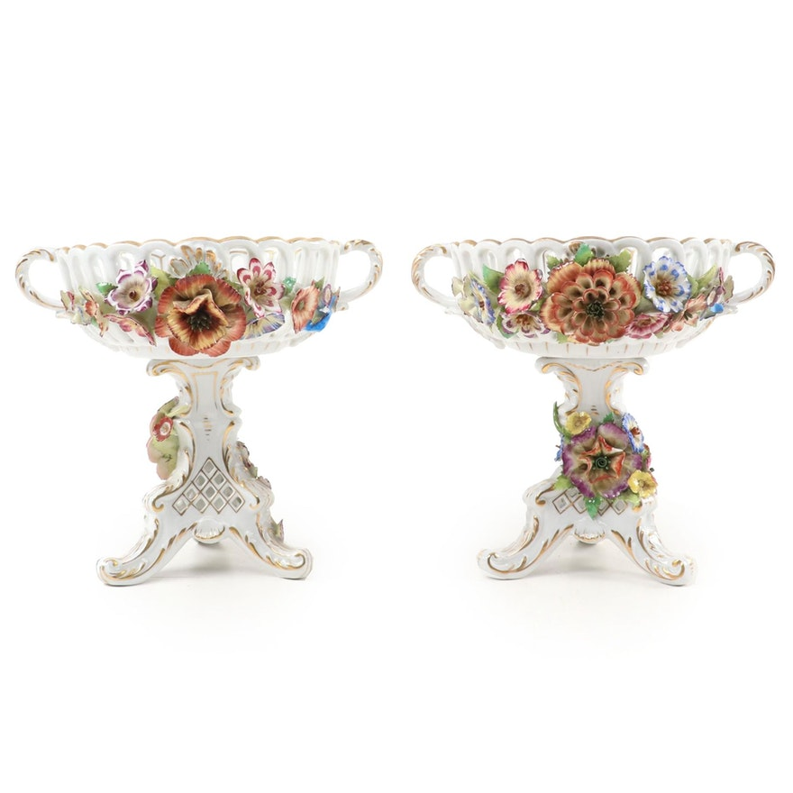 Pair of Von Schierholz Porcelain Footed Centerpiece Compotes