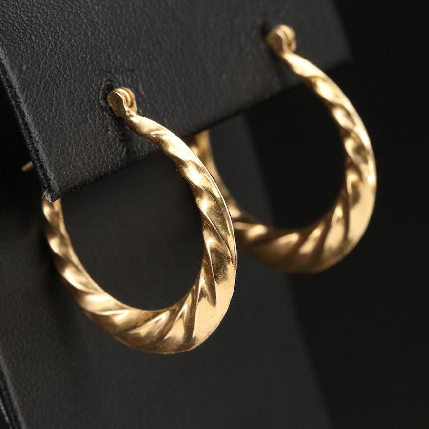 14K Scalloped Hoop Earrings