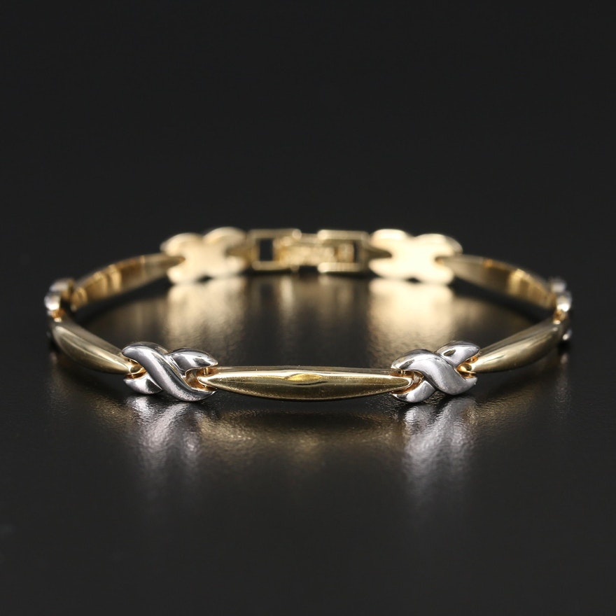 14K Two-Tone Gold Infinity Link Bracelet