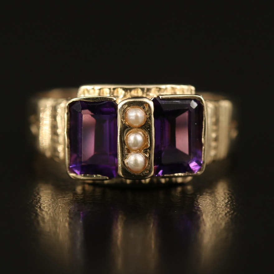 Victorian 14K Amethyst and Seed Pearl Ring