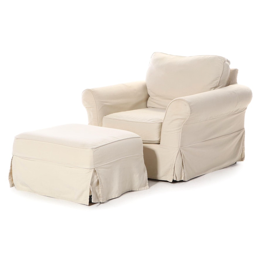 Pottery Barn Slip-Covered Easy Armchair and Ottoman