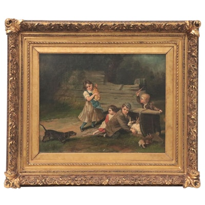 David B. Bechtel Oil Painting of Children with Rabbits, Early 20th Century