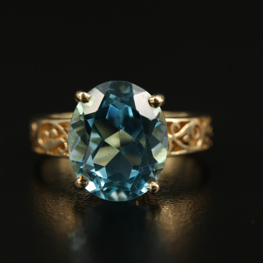 14K Topaz Ring with Scrollwork Shoulders
