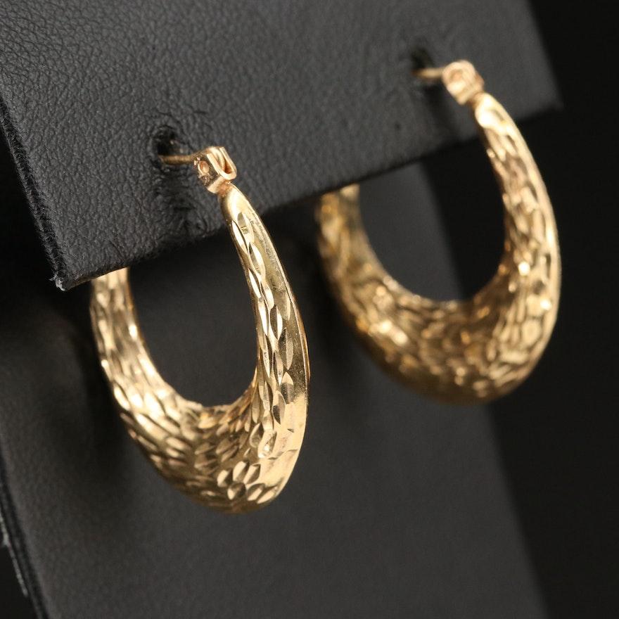 14K Textured Hoop Earrings