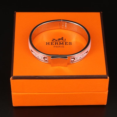 Hermès Enamel Hinged Bangle with Box and Pouch