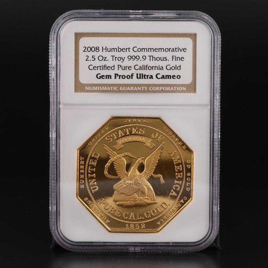 NGC Graded Gem Proof Ultra Cameo 2008 2.5 Oz. Gold Humbert Commemorative Ingot