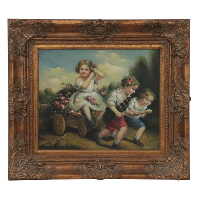 Oil Painting of Children and Wagon, circa 2000