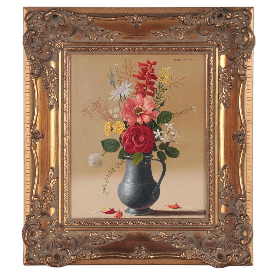 Piero Antonelli Floral Still Life Oil Painting