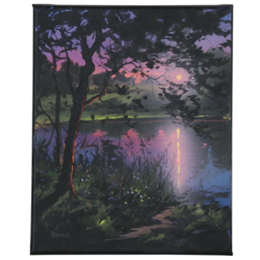 "Douglas ""Bumo"" Johnpeer Oil Painting of Sunset on Lake, 2021"