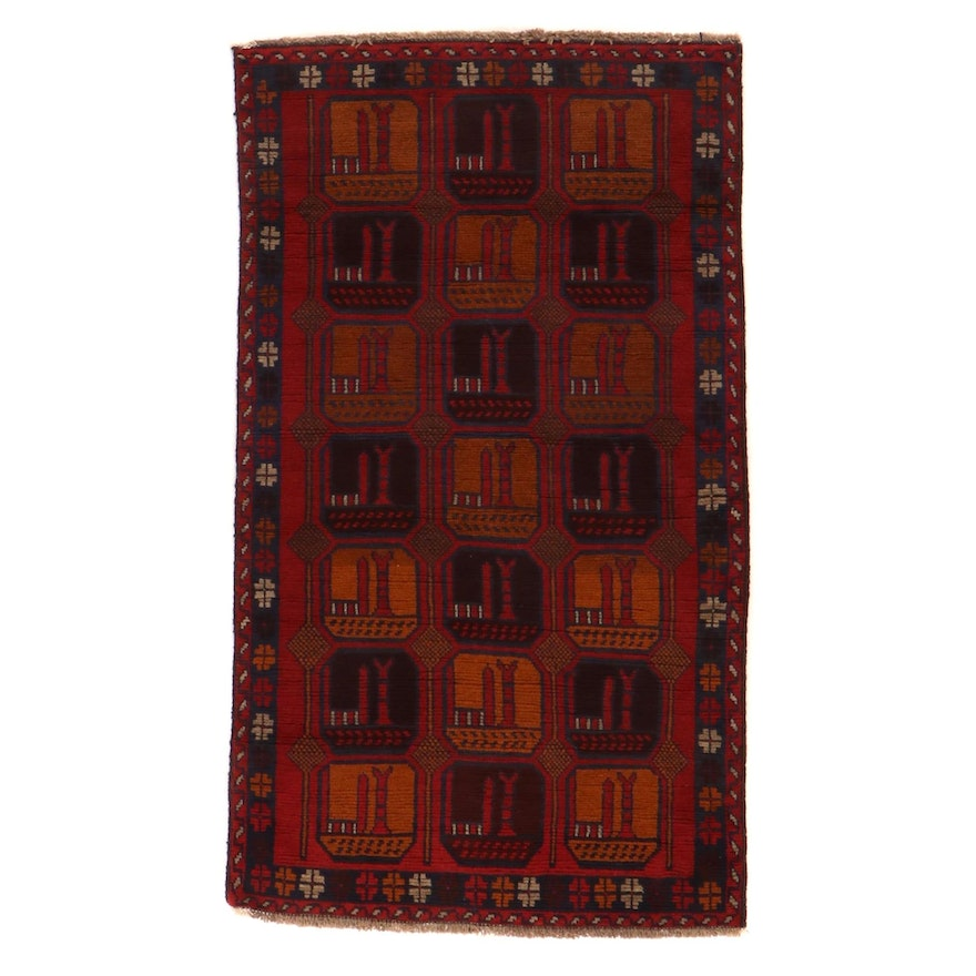 3'6 x 6'3 Hand-Knotted Afghan Baluch Area Rug