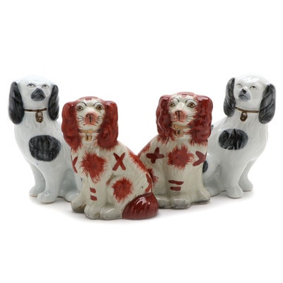 Staffordshire Style Ceramic Spaniel Figurines, Mid to Late 20th Century