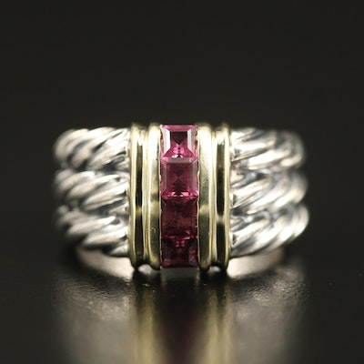 Sterling Rhodolite Garnet Cable Ring with 14K Accents