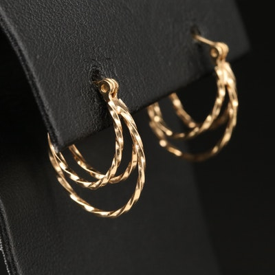 14K Oval Triple Hoop Earrings