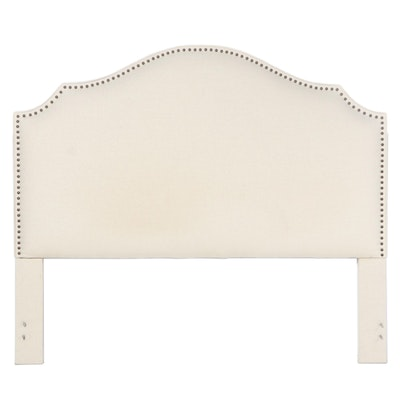 Contemporary Linen-Upholstered and Studded King Size Headboard