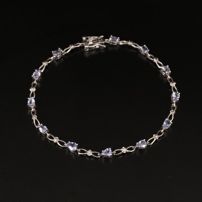 10K Tanzanite and Diamond Infinity Link Bracelet