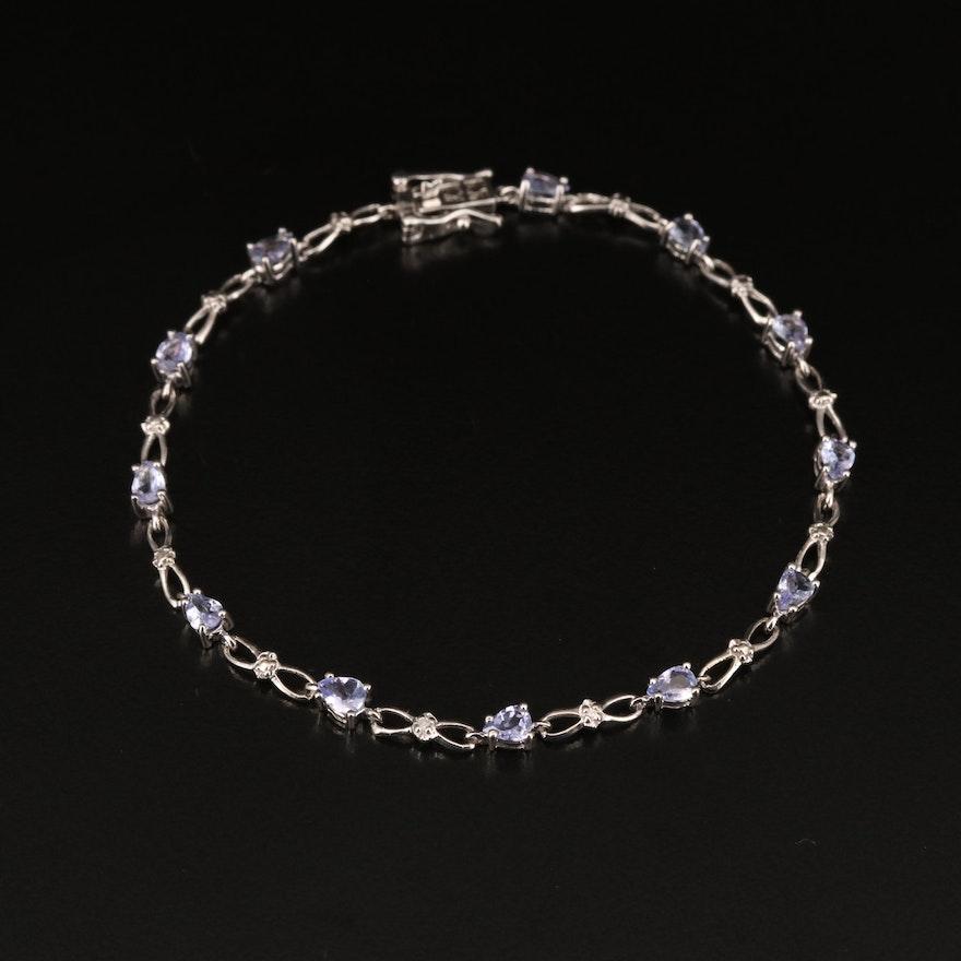 10K Tanzanite and Diamond Infinity Link Bracelet