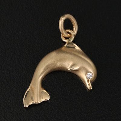 14K Diamond Dolphin Pendant with Matte Finish