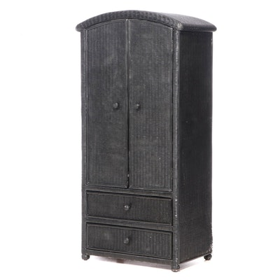 Black-Painted Wicker Two-Drawer Wardrobe