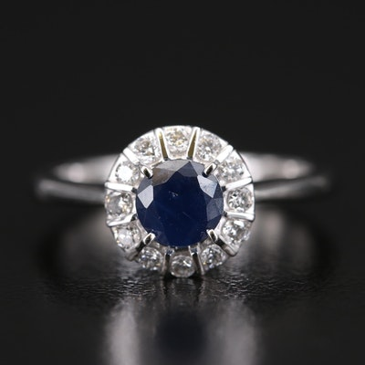 EFFY 14K Sapphire and Diamond Halo Ring