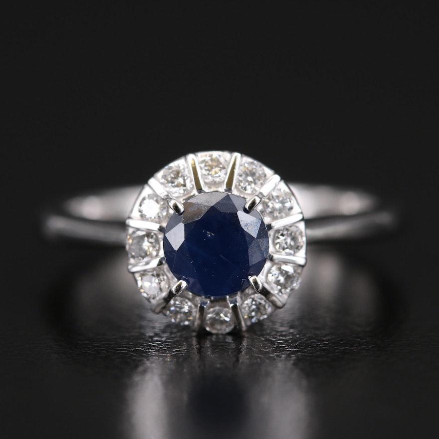 EFFY 14K Sapphire and Diamond Halo Ring