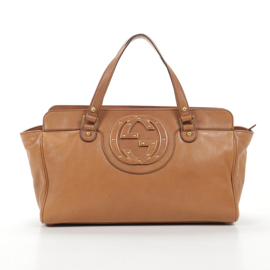 Gucci Soho Interlocking Studded GG Satchel in Tan Grained Leather
