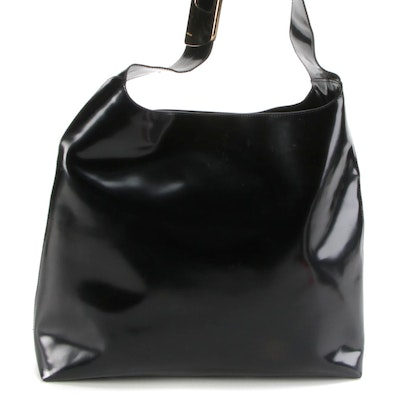 Gucci Shopper Tote in Black Glazed Leather