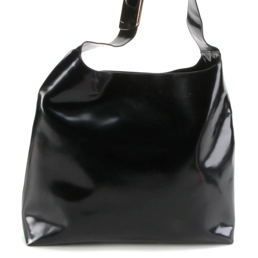 Gucci Shopper Tote in Black Glazed Leather