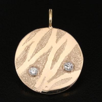 14K Diamond Circular Tag Pendant with 18K Bail