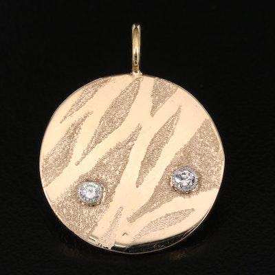 14K Diamond Circular Tag Pendant with 18K Bail