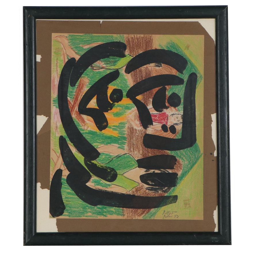 Peter Keil Abstract Mixed Media Portrait, 1959