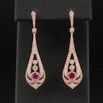 EFFY 14K Rose Gold Ruby and Diamond Openwork Earrings
