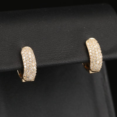 EFFY 14K Pavé Diamond Oval Hoop Earrings