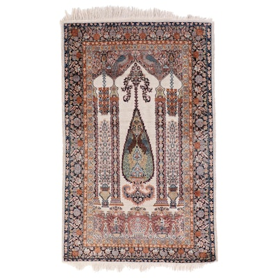 2'11 x 5' Hand-Knotted Indian Agra Silk Prayer Rug, Late 20th Century